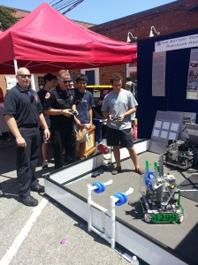 Lexington firemen driving our robot!